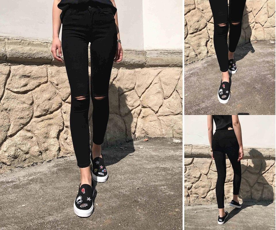 63c06570599 Рваные джинсы черные женские - Verona24 в Киевской области