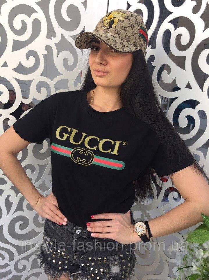 b4d3ed6828df Женская футболка Гуччи Gucci ткань хлопок цвет черный  купить ...