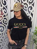 Женская футболка Гуччи Gucci ткань хлопок цвет черный