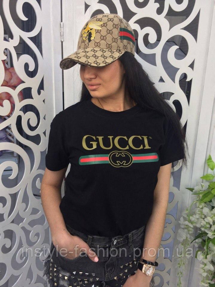 09a98e39133e Женская футболка Гуччи Gucci ткань хлопок цвет черный - Сумки брендовые,  кошельки, очки,