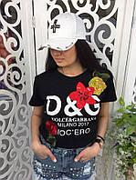 Женская футболка Dolce Gabanna D&G ткань хлопок черная