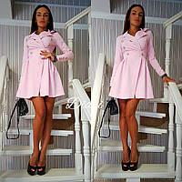 Платье модное с отложным воротником креп-костюмка разные цвета SMdi1397, фото 1