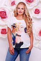 Женская футболка с девушкой FB-1346Q размеры 42-56, фото 1