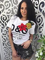 Женская футболка Dolce Gabanna D&G ткань хлопок белая