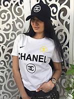 Женская футболка Шанель Chanel ткань хлопок белая