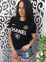 Женская футболка Шанель Chanel ткань хлопок черная