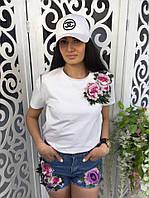 Женская футболка с вышивкой ткань хлопок белая, фото 1