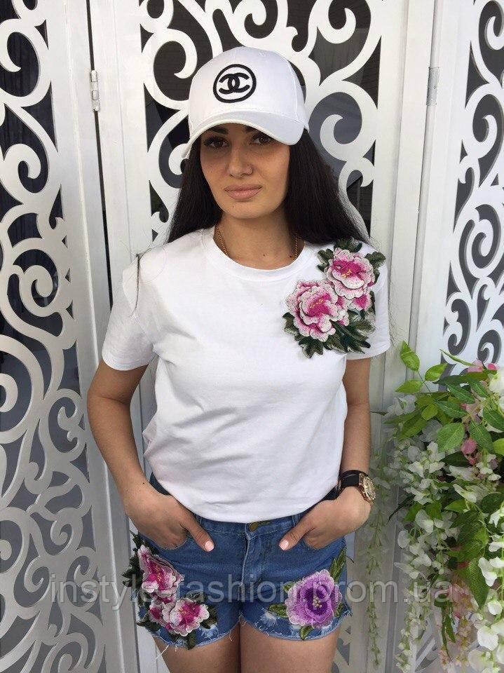 Женская футболка с вышивкой ткань хлопок белая