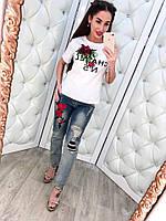 Женская модная футболка и джинсовые капри с вышивкой (отдельно в продаже)