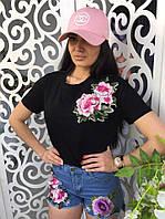 Женская футболка с вышивкой ткань хлопок черная