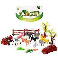 Животные 0019P домашние, 14шт, от 3,5см, деревья, забор, в кульке, 18-20-4см