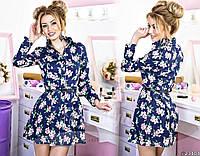 Платье-рубашка в цветочный принт с манжетами и воротом на пуговицах, расклешенная юбка, пояс в комплекте.