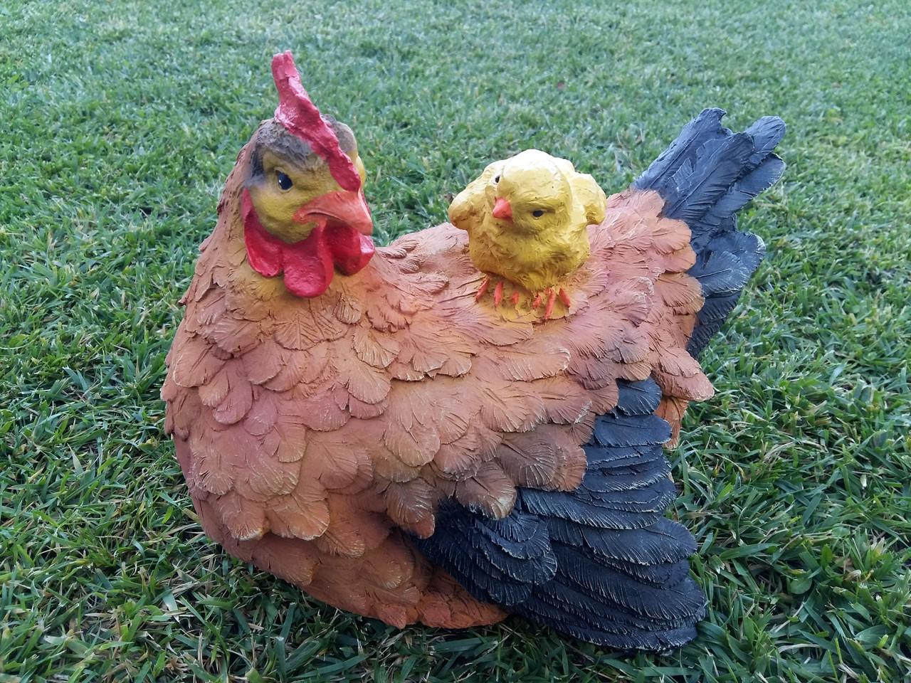 """Садовая фигура """"Курица с цыпленком рыжая"""" H-22см"""