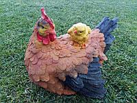 "Садовая фигура ""Курица с цыпленком рыжая"" H-22см, фото 1"