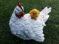 """Садовая фигура """"Курица с цыпленком белая"""" H-22см, фото 1"""