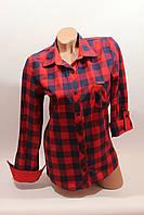 Женские рубашки в клетку 1 кармашек оптом VSA красный-синий