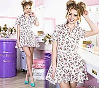 Платье-рубашка в цветочный принт с воротом на пуговицах, расклешенная юбка, пояс в комплекте.
