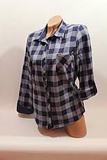 Женские рубашки в клетку 1 кармашек оптом VSA джинс, фото 2