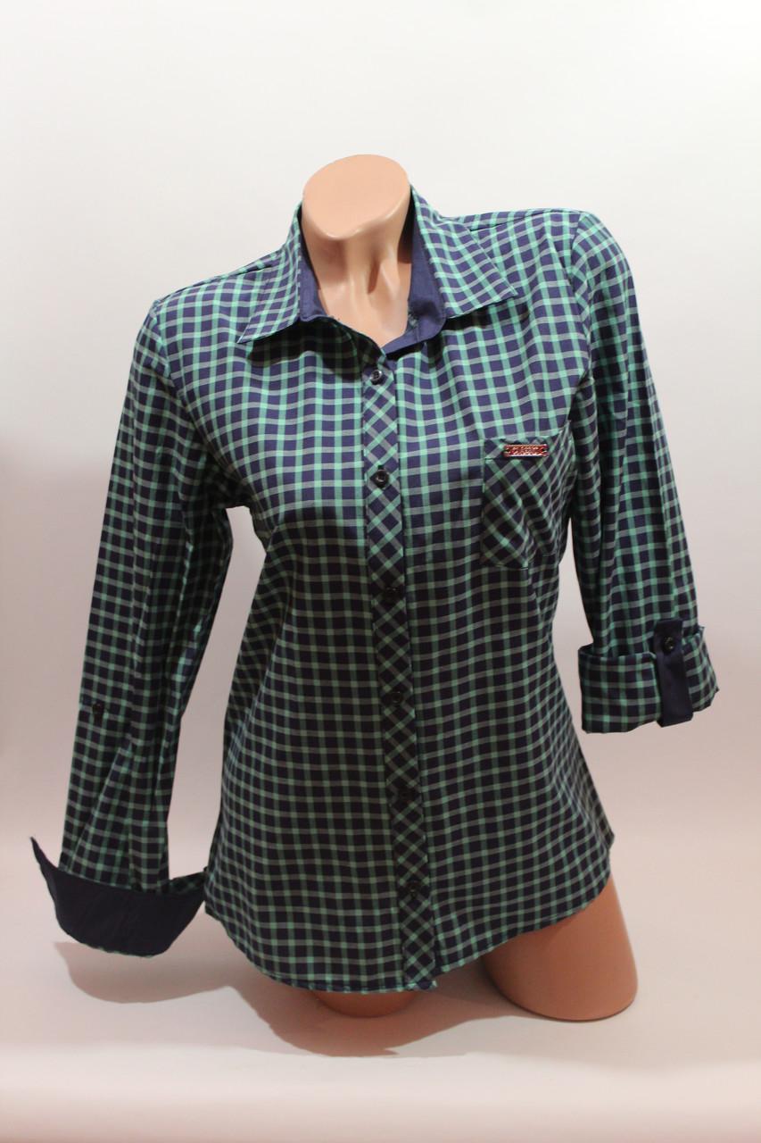 Женские рубашки в клетку 1 кармашек оптом VSA т.синий-зеленый мелкая