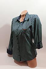 Женские рубашки в клетку 1 кармашек оптом VSA т.синий-зеленый мелкая , фото 2