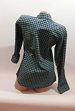 Женские рубашки в клетку 1 кармашек оптом VSA т.синий-зеленый мелкая , фото 3