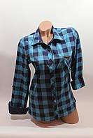 Женские рубашки в клетку 1 кармашек оптом VSA бирюза ef8fe24fbaa35