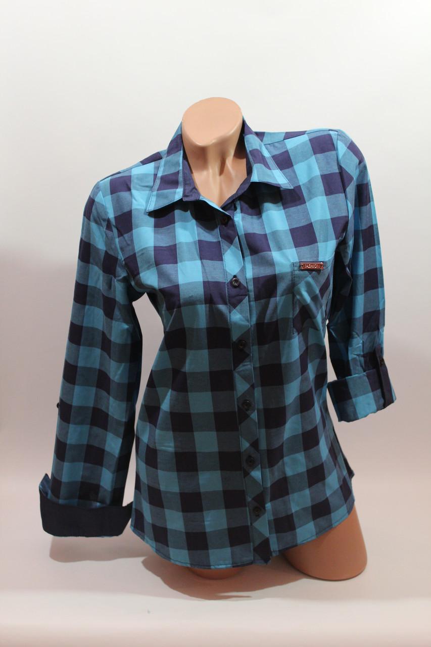Женские рубашки в клетку 1 кармашек оптом VSA бирюза