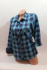 Женские рубашки в клетку 1 кармашек оптом VSA бирюза, фото 2