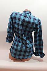 Женские рубашки в клетку 1 кармашек оптом VSA бирюза, фото 3