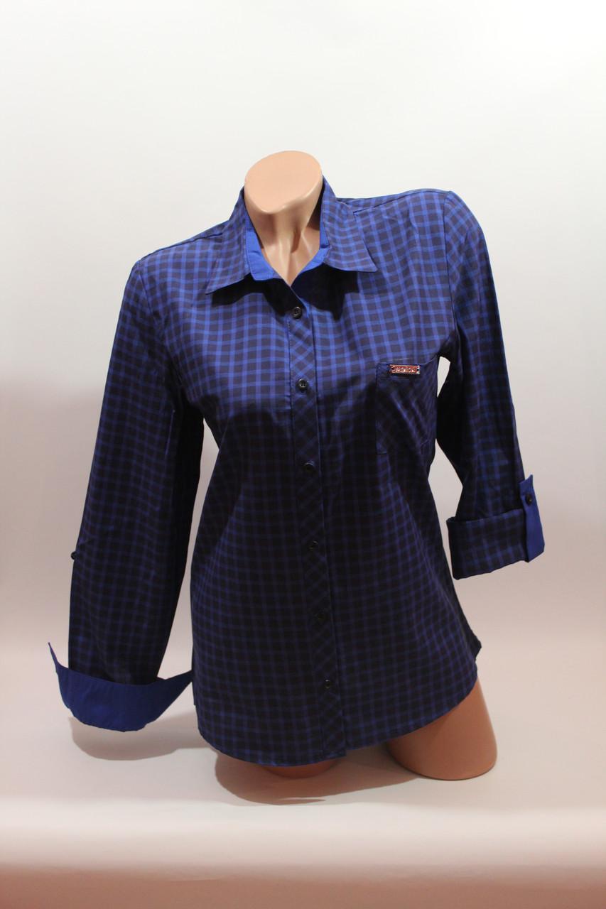 Женские рубашки в клетку 1 кармашек оптом VSA т.синий мелкая