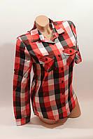 Женские рубашки в клетку оптом VSA красный-белый-черный 79a54dda5bfff