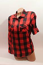 Женские рубашки в клетку оптом VSA красный-черный крупная, фото 2