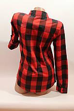 Женские рубашки в клетку оптом VSA красный-черный крупная, фото 3