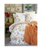 Набор постельное белье с покрывалом пике Karaca Home Paradise 2017-2 orange jacquard
