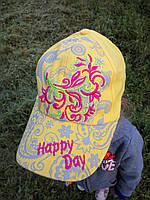 Летняя кепка на девочку Размер 54 Лен Цвет желтый с вышивкой