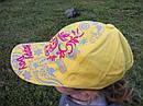 Летняя кепка на девочку Размер 54 Лен Цвет желтый с вышивкой, фото 2