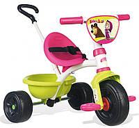 """Велосипед трехколесный Be Move""""Маша и медведь""""  - Smoby - Франция - Ручка велосипеда регулируется по длине"""