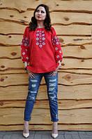 Вышиванка женская льняная красного цвета с рукавом 3/4 модель Ж10/2-261