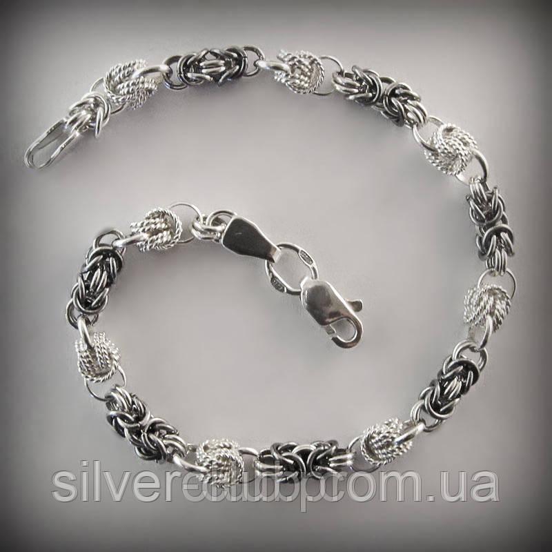 7e1c003c2c69 214 Браслет женский серебряный плетения Мальвина с орехом 214 ...