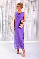 Платье летнее  Ткань - батист с вышивкой купоном. Длина изделия по спинке 140 см.  3 расцветки апро№ 176-329