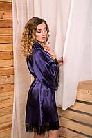 Женский халат кимоно на запах Тёмно-синий