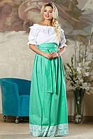 Стильная летняя юбка в пол с широким поясом (разные цвета)