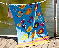 Полотенце пляжное велюр 75х150 Birds голубой Lotus