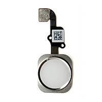 Шлейф для iPhone 6S. с кнопкой меню (Home) и белой пластиковой накладкой
