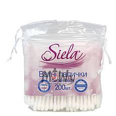 Siela - Ватные палочки 200шт Cotton buds (100% хлопок) в пакете, фото 2