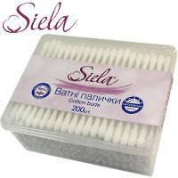 Siela - Ватные палочки 200шт Cotton buds (100% хлопок) в прямоугольной пластик. упаковке