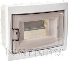 Купить бокс шестиместный для скрытой установки с дверцей, для установки автоматических выключателей и т.п. с номинальным током не более 40 А, при температуре окружающей среды от -5 ºС до +40 ºС. Для размещения 6-ти и менее электроаппаратов.