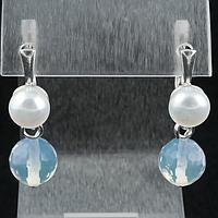 Лунный камень и жемчуг, серьги, 134СРЛ