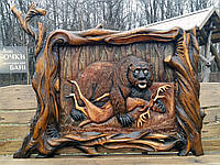 "Резная картина из дерева ""Медведь на охоте"" 140*120см, фото 1"