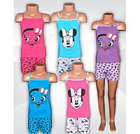 Пижама детская летняя для девочки, майка и шорты, хлопок, р.р.28-38